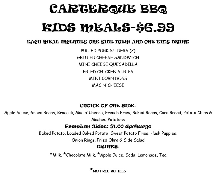 BBQ Restaurant Kids Menu- Frederick & Mt.Airy MD